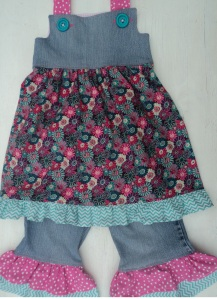 Upcycled blue jeans dress and ruffle jeans!