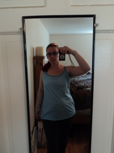 Hello frumpy top! Yes again WAYYY too big! BUT I loved the color and the mini stripes.